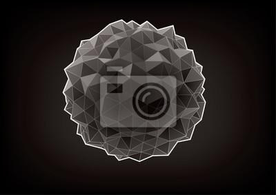Abstrakcyjna rumpled kuli z trójkątne twarze dla projektowania graficznego na czarnym tle