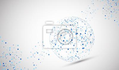 Plakat Abstrakcyjna tła technologii kuli. Globalna konsumpcja sieci.