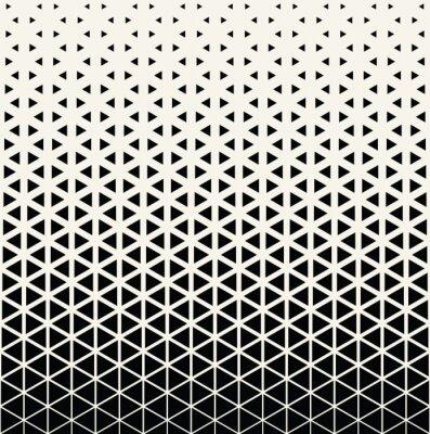 Plakat Abstrakcyjne geometryczne czarno-biały wzór graficzny druku półtonów wzór trójkąta