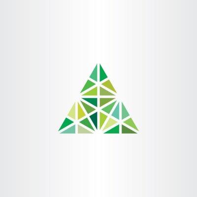 Plakat abstrakcyjne geometryczne Zielony trójkąt wektorowe ikony