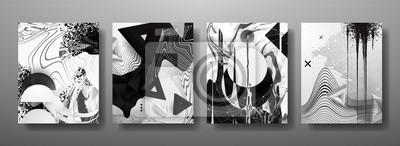 Plakat Abstrakcyjne płynne, linie i kształty kreatywne szablony, karty, zestaw kolorowych okładek. Geometryczny wzór, płyny, kształty. Modna kolekcja wektor.