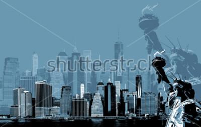 Plakat Abstrakcyjny obraz z manhattanu. Symbole Nowego Jorku. Manhattan Skyline i Statua Wolności NYC. Sztuka współczesna i styl plakatu w kolorze niebieskim
