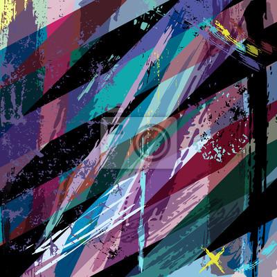 Plakat abstrakcyjny, z uderzeń, plamy i linie geometryczne