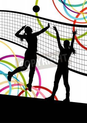 Plakat Active young women volleyball player sport silhouettes in abstract color background illustration vector