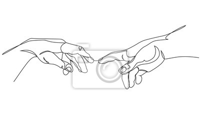 Plakat Adam and God hands one line drawing on white isolated background