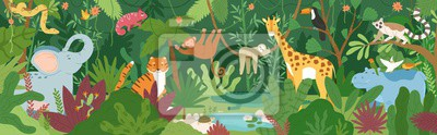 Plakat Adorable exotic animals in tropical forest or rainforest full of palm trees and lianas. Flora and fauna of tropics. Cute funny inhabitants of African jungle. Flat cartoon colorful vector illustration.