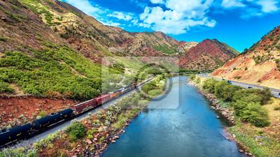 Plakat Aerial Train Glenwood Kaniony Red Rocks w Colorado Colorado River