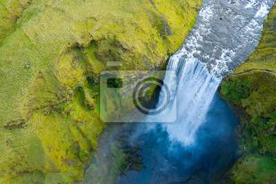 Plakat Aerial view of Skogafoss waterfall, Iceland by drone