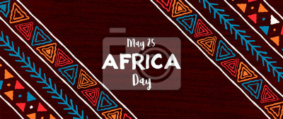 Plakat Africa Day banner of traditional african art