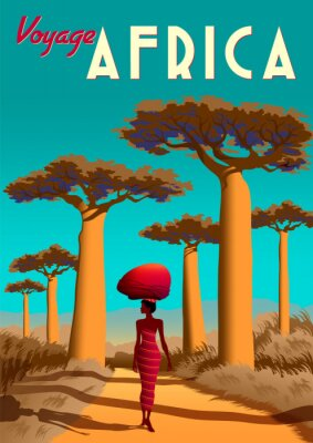 Plakat Africa travel poster with a masai girl in the first plan and baobabs and savannah in the background.