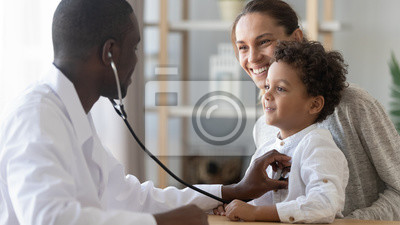 Plakat African male pediatrician hold stethoscope exam child boy patient