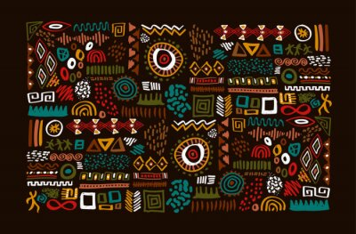 Plakat African tribal art traditional symbol set isolated