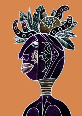 Plakat African woman with tropical fruit and leaves on her head. Tribal hand drawn illustration.