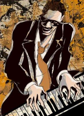 Plakat afro amerykański pianista jazzowy