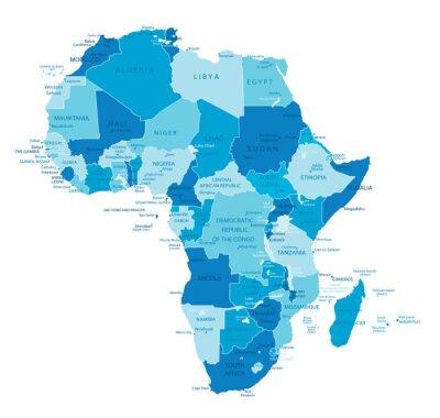 Plakat Afryka bardzo szczegółowe mapy.Wszystkie elementy są oddzielone w edytowalne warstwy wyraźnie oznaczone. Wektor