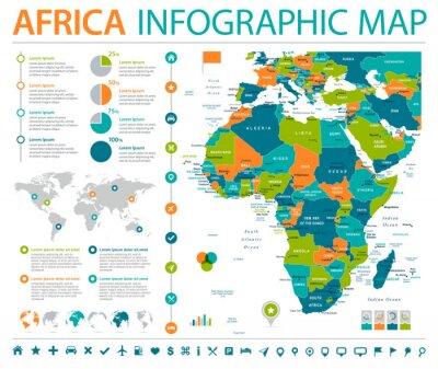 Plakat Afryka Mapa - Informacje Graficzne Ilustracje Wektorowe