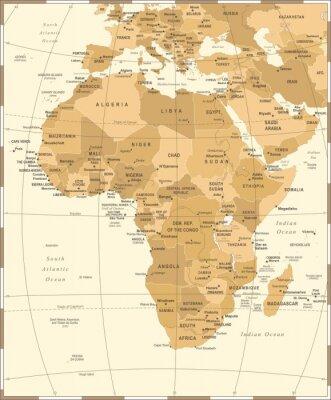 Plakat Afryka Mapa - Vintage Ilustracji Wektorowych
