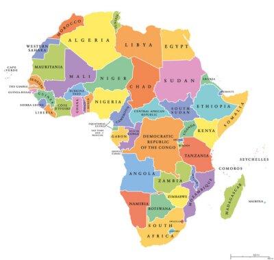 Plakat Afryka singiel stanowi mapę polityczną. Każdy kraj posiada własny obszar koloru. Z granicami państwowymi na białym tle. Kontynent tym Madagaskarze i wyspiarskich państw. English etykietowania.