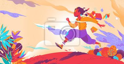 Plakat After school, a boy runs toward his future