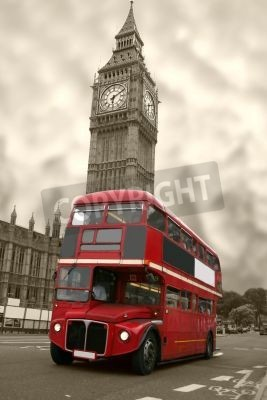 Plakat aged big ben with a classic london bus in red