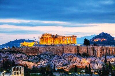 Plakat Akropol wieczorem po zachodzie słońca