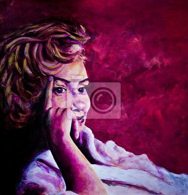 Plakat Akryl malowanie 1950 dama w płaszcz kąpielowy zainspirowany obrazami Marilyn Monroe