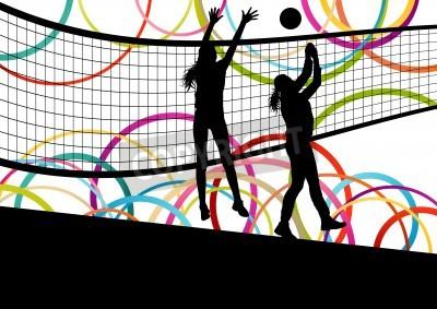 Plakat Aktywne młode kobiety siatkarz sylwetki sportowe w streszczenie kolor tła ilustracji wektorowych