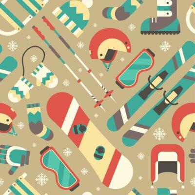 Plakat Aktywność Zima i akcesoria Seamless Pattern