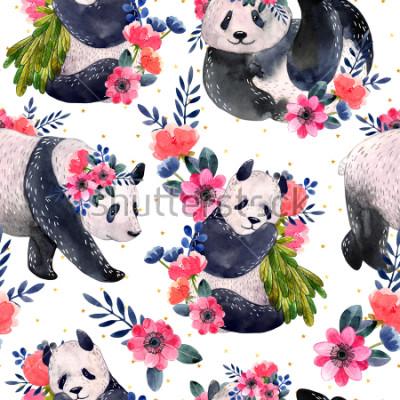 Plakat Akwarela bezszwowe wzór z pandy i kwiaty na białym tle na białym tle. Złote gwiazdy na tle. Akwarela ilustracja.