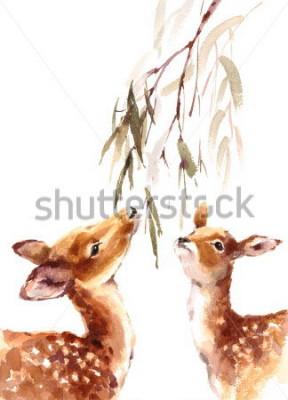 Plakat Akwarela Dwa Deers Patrzeje Do śniadanio-lunch z liśćmi Malująca ilustracja z animowaną na białym tle