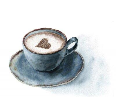 Plakat Akwarela filiżanka cappuccino z cynamonem serca wystroju. Ilustracja żywności z niebieskim filiżanka kawy na białym tle. Ręcznie malowane druk do projektowania lub wydrukować.