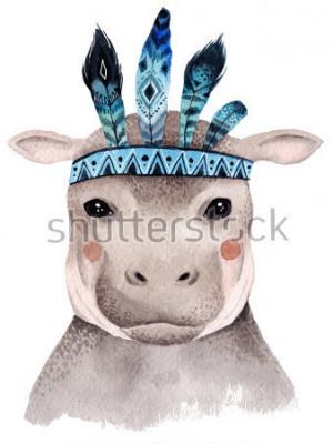 Plakat Akwarela hipopotam, ładny wzór boho z piórami. Nadruki dla dzieci ze zwierzętami, plakaty i pocztówki.