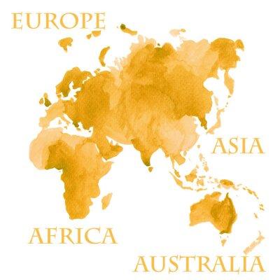 Plakat Akwarela ilustracja części świata mapy, takich jak Europa, Azja, Afryka i Australia malowane w sepii złota tuszem
