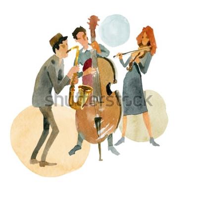 Plakat Akwarela ilustracja. Instrumentalne trio jazzowe składające się z kontrabasu, skrzypiec i saksofonu