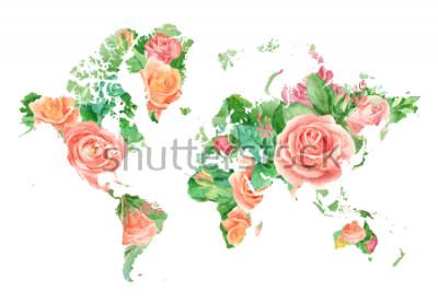 Plakat Akwarela ilustracja mapa świata w kwiaty. Szablon do projektów DIY, przyjęcia ślubne, kartki okolicznościowe, plakaty, blogi, strony internetowe