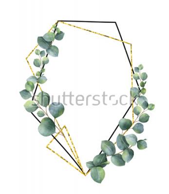 Plakat Akwarela kompozycja z gałęzi eukaliptusa i złota rama geometryczna. Wiosenne lub letnie kwiaty na przyjęcie, wesele lub karty z pozdrowieniami.