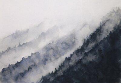Plakat akwarela krajobraz górskiej mgły azjatyckich stylów sztuki