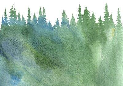 Plakat akwarela krajobraz z jodły