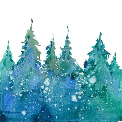 Plakat akwarela las zimowy