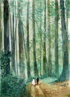 Plakat Akwarela lasy krajobraz z parą państwa młodzi odprowadzenie wzdłuż lasowej drogi. Szablon ślub zaproszenia lub menu z miejscem na tekst. Idealne na wesela w lesie.