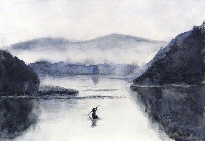 Plakat Akwarela łódź rybacka i wyspa z górami. Tradycyjny orientalny. styl azjatycki