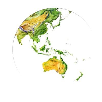 Plakat Akwarela mapa geograficzna świata. Fizyczna mapa świata. Fragment. Azja, Australia, Indonezja. Realistyczny obraz. Pojedynczo na białym tle