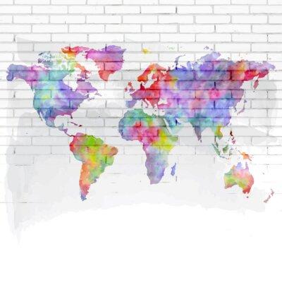 Plakat akwarela mapa świata na ścianie z cegły
