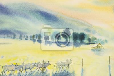 Plakat Akwarela oryginalny krajobraz malarstwo wiele stada krowy