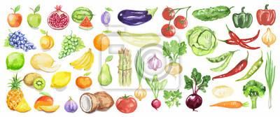 Plakat Akwarela owoce i warzywa ustawić. Soczyste i kolorowe owoce na białym tle, w tym jabłek, kokosowym, wapna, pomidory, ogórki i inne. Dieta wegetariańska żywność z witaminami.