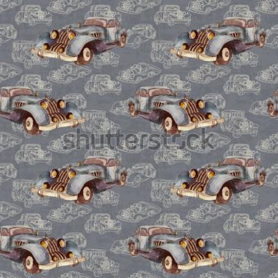 Plakat Akwarela ręcznie rysowane artystyczny kolorowy retro starodawny samochód wzór