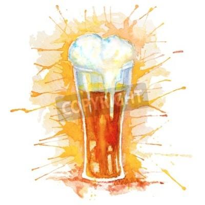Plakat Akwarela ręcznie rysowane szkła świeżego piwa z pianki i plamy samodzielnie na białym tle