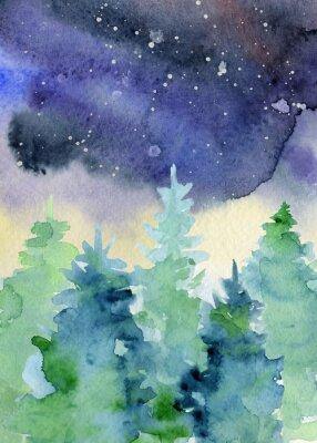 Plakat Akwarela streszczenie woddland, sylwetki drzewa jodły z popiołów i plamy, zimą tło
