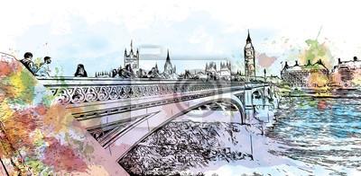 Plakat Akwarela szkic Big Ben i most Londyn, stolica Anglii i Wielkiej Brytanii w ilustracji wektorowych.