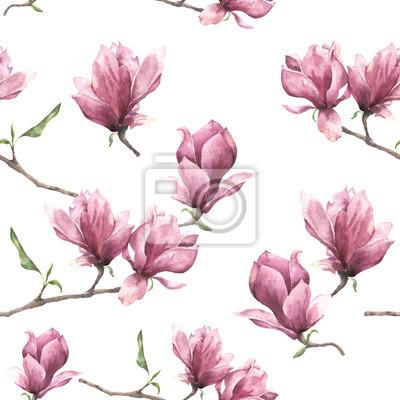 Akwarela Szwu Z Magnolii Ręcznie Malowany Kwiatowy Ornament Plakaty Redro